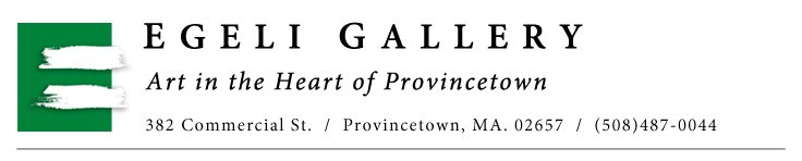 Top box showing Egeli Gallery - Art in the Heart of Provincetown 383 Commercial Street Telephone: 508-487-0044