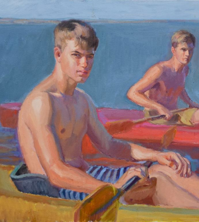 Young Kayakers painting detail