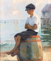 Young boy with Cap on Barrel